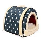 NOPTEG ペット ハウス ドーム型 犬猫 ベッド 折りたたみ式 ペットベッド 室内用 中敷き付き (M, スター模様)
