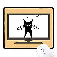 かわいい黒猫のペットの恋人動物の芸術のシルエット マウスパッド・ノンスリップゴムパッドのゲーム事務所