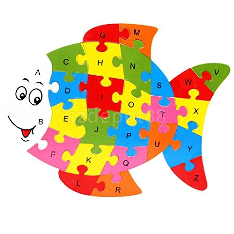魚木製パズルアルファベット文字ブロックPreschool Kids Toddler Learningおもちゃ