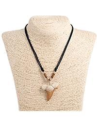サメの歯のペンダント調整可能なロープコードネックレスwith木製チューブ( 4sサメの歯) (ブラック)