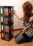 回転式CD/DVDタワーラック ブラック(黒)中容量モデル CD最大304枚収納 89cm高 コミック文庫本もOK