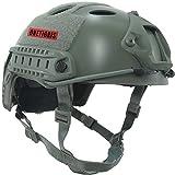 OneTigris ファストヘルメット fast PJタイプ エアソフトヘルメット 米軍風レプリカ装備 多目的 サバゲー・作業用など マウントレール付き かっこいい 軽量 (グレー)