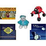 Girl's Gift Bundle - Ages 6-12 [5 Piece] - Justinian Intrigue At The Emperor's Court Game - Lady Bug Massager - TB Trading Baby Girl White Teddy Bear Plush 16