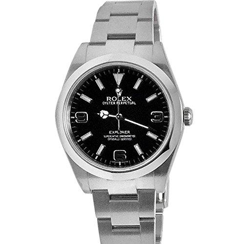 Rolex Explorer 1ブラックダイヤルスチールメンズ腕時計214270