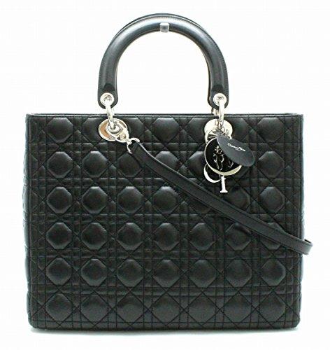 [クリスチャン ディオール] Christian Dior カナージュ レディディオール ハンドバッグ 2WAY ショルダーバッグ 黒 ブラック レッド 赤 シルバー金具