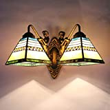 LED Wall Light, Tiffany Style Stained Glass Wall Sconces 8 Inches, Wall Lamp for Bedroom Living Room Aisle Corridor, Bathroom Mirror Headlight, 111-240V,B