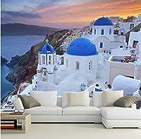 Lcymt カスタム3D大壁画、ギリシャ沿岸住宅、美しくて新鮮なリビングルームのソファーテレビの壁の寝室の壁紙-350X250Cm