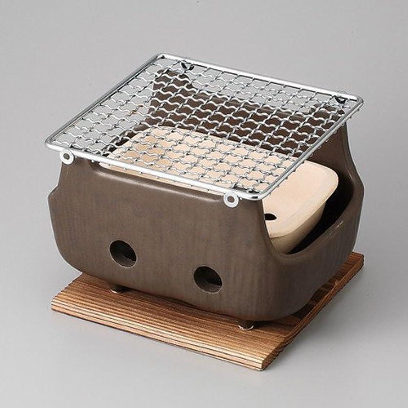 石灰岩臭いに対して串焼(小) 水コンロ(木台網付) [ 18 x 13.5 x 11cm ] 【 コンロ 】 【 料亭 旅館 和食器 飲食店 業務用 】