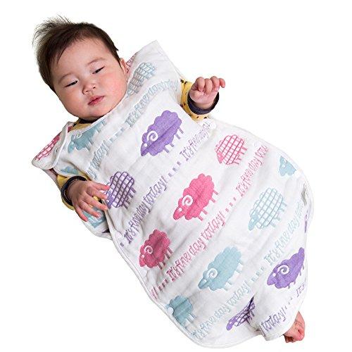 赤ちゃん スリーパー ふんわり 8重 ガーゼ 天然コットン100% 寝冷え防止 6重より柔らか 出産祝い (新生児~3歳頃向け) (ひつじ) バンビノ