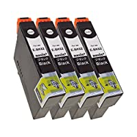 EPSON ICBK62 (BK×4) 【ブラック/4本セット】 Hyper互換インクカートリッジ 【nasia+製】 (最新型ICチップ/残量検知/製品1年保証付き) IC62BK
