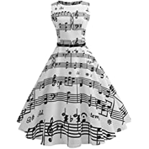 Women Dress, SMTSMT Women Vintage Printing Bodycon Sleeveless Casual Evening Party Prom Swing Dress Retro Hepburn Style Music Note Print Waist Dress