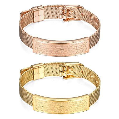 [해외]JewelryWe 클래식 남성 팔찌 팔찌 넓은 탈착 쉽게 유럽 스테인리스 성경 각인 십자가 핑크 골드/JewelryWe Classic Men`s Bracelet Bracelet Width Wide Wide Easy Easy European Stainless Steel Bible Engraved Cross Pink Gold