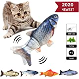 Senneny Electric Moving Fish Cat Toy, Realistic Plush Simulation Electric Wagging Fish Cat Toy Catnip Kicker Toys, Funny Interactive Pets Pillow Chew Bite Kick Supplies for Cat Kitten Kitty (Catfish)
