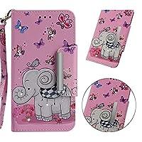 Abtory iPhone 7 Plus Wallet ケース,高級PUレザー ケース 手帳型 カードホルダー&リストストラップスタンドカバーと磁気レザー保護ケースフォリオ保護ケース カード ケース 手帳型 for iPhone 7 Plus Elephant