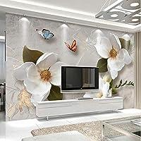 Xbwy カスタム壁画壁紙3Dステレオレリーフ花蝶フレスコ画現代のシンプルなリビングルームテレビソファ背景壁紙用3 D-200X140Cm