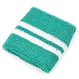 リストバンド 大人用 wristband-07-09.緑ベース白ライン / スポーツ ダンス リストウォーマー