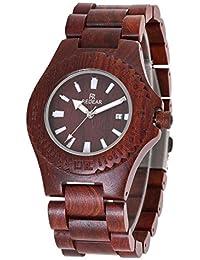 木製腕時計 ウッドウォッチ 腕時計 メンズ アナログ腕時計 天然木 カレンダー付き 彫刻 クリスマスプレゼント 贈り物