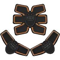 EMSIC 腹筋ベルト EMS 腹筋 腕筋 筋トレ器具 トレーニングマシーン 「6種類モード 10段階強度 日本語説明書付属」 (ブラック)