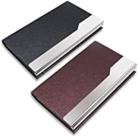 2 Pcs Professional Business Card Holders, SENHAI Stainless Steel + PU Leather Card Case with Magnetic Shut for Men and Women - Black, Purple