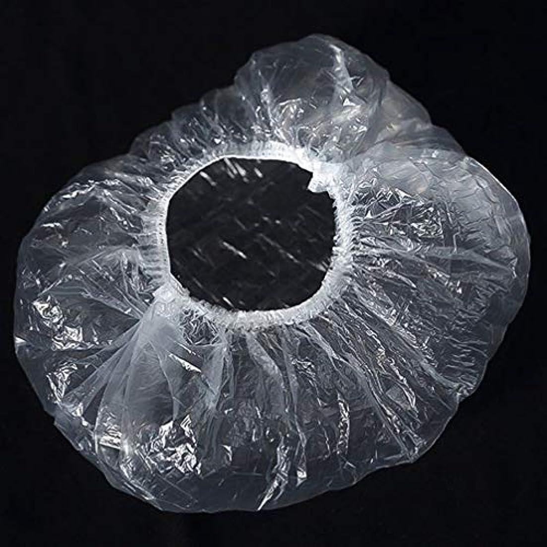 朝食を食べる緩やかなドラフトQuzama-JS 快適なシャワーキャップ、ポータブル使い捨てシャワーキャッププラスチック透明防水シャワーキャップバス(as picture)