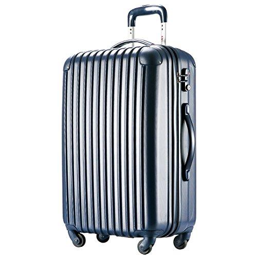 [トラベルハウス] Travelhouse スーツケース 超軽量 TSAロック搭載 【一年修理保証】 ABS 半鏡面仕上げ4輪 ファスナータイプ ss型国内・国際線機内持込可 (19色4サイズ) suitcase (S, navy)