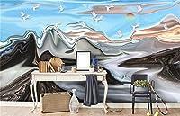 Mbwlkj カスタム 3D の写真の壁紙抽象的な単純な Hand-Painted 横長の赤い太陽が上がる壁の壁画壁紙の家の装飾のウォールペーパー-200Cmx140Cm