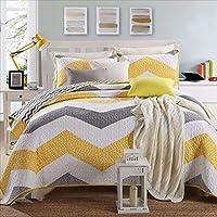 ベッドルームダブルベッドカバーリバーシブルキルト、パッチワーク、コットンストライプ、洗えるベッドカバー、枕2つ付き,230*240cm