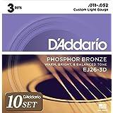 D'Addario ダダリオ アコースティックギター弦 フォスファーブロンズ Custom Light .011-.052 EJ26-3D 3set入りパック x 10セット 【国内正規品】