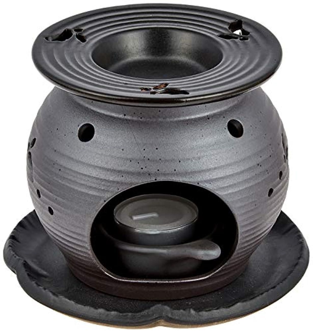 イブスキームクリスチャン常滑焼5-260盛正 黒泥丸形ウサギ茶香炉 AM-T1053