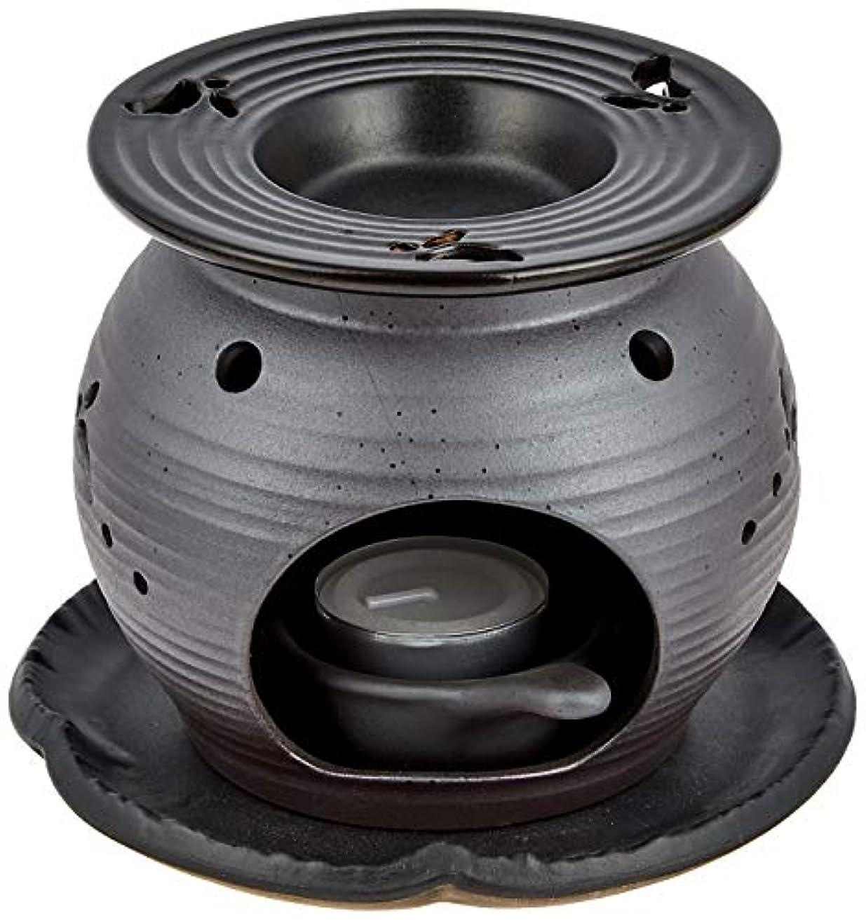 カカドゥガイドライン横向き常滑焼5-260盛正 黒泥丸形ウサギ茶香炉 AM-T1053