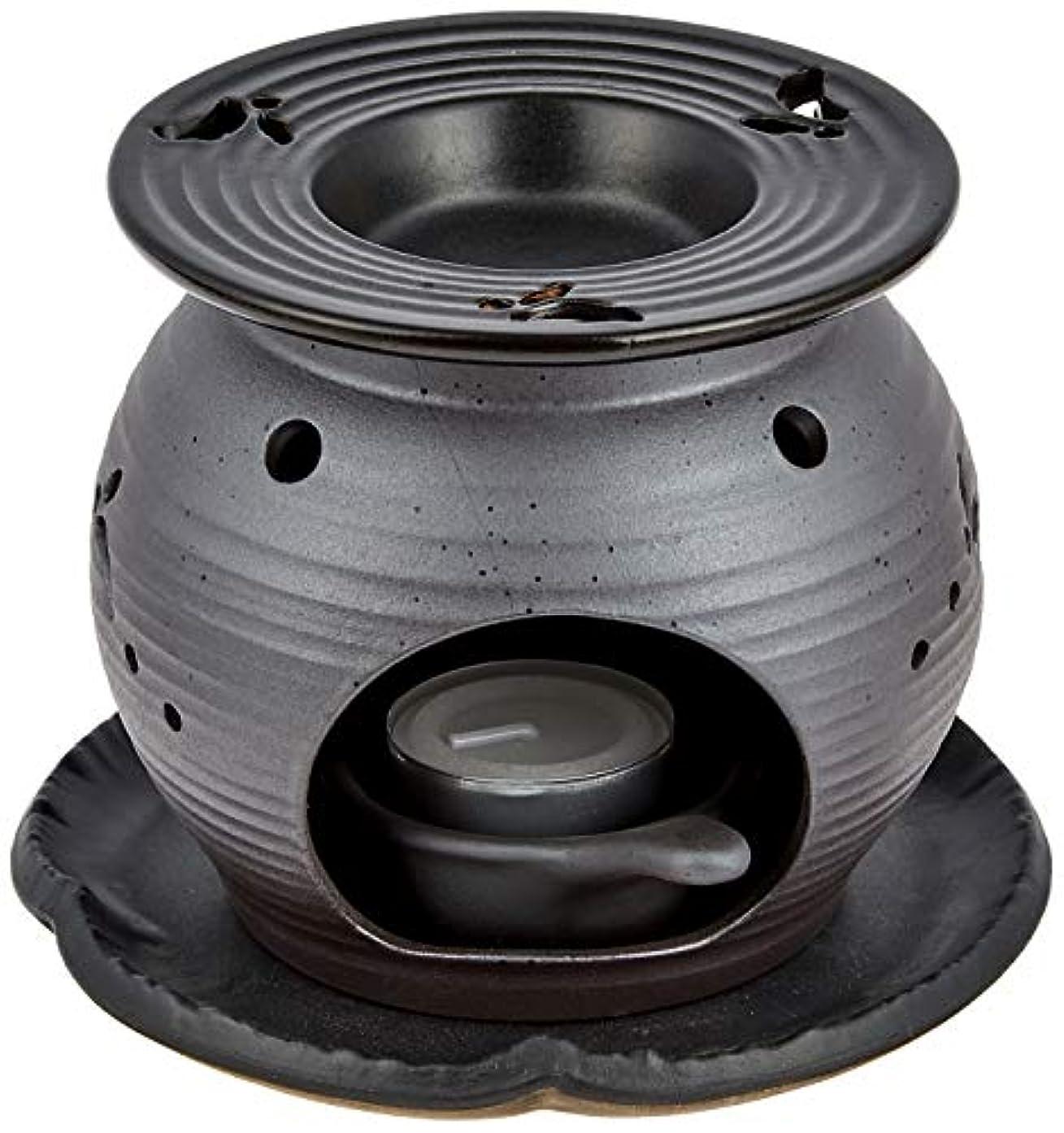 程度終わらせる素晴らしい常滑焼5-260盛正 黒泥丸形ウサギ茶香炉 AM-T1053