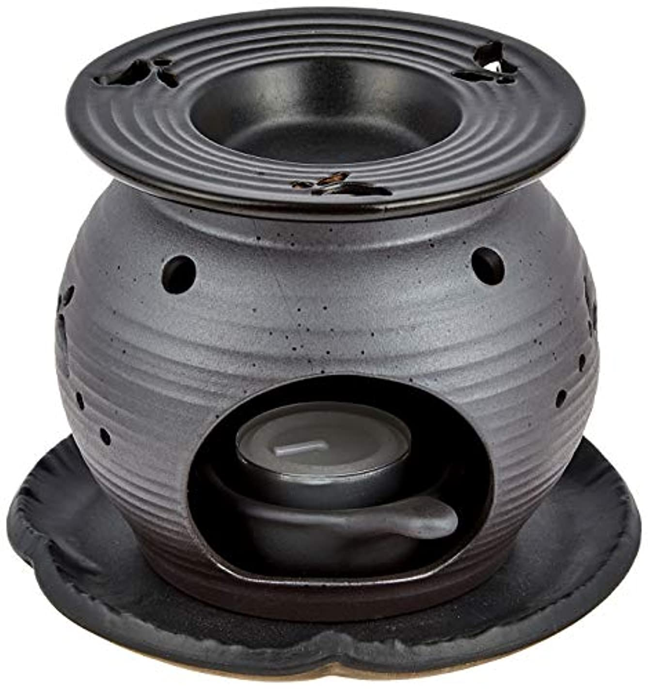 遅らせる制限されたスタック常滑焼5-260盛正 黒泥丸形ウサギ茶香炉 AM-T1053