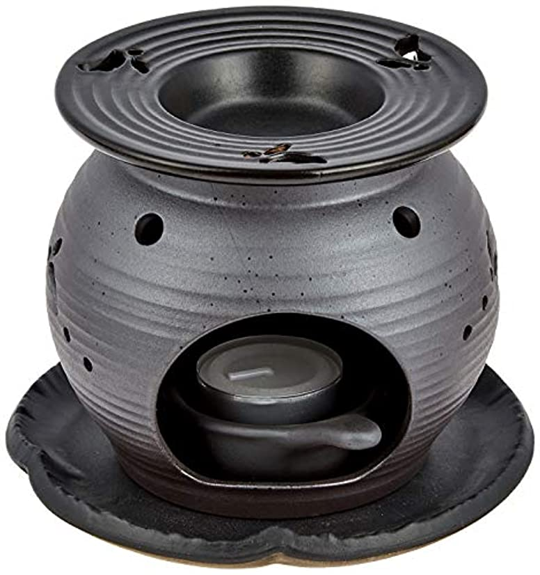 祈るアンカー拍手常滑焼5-260盛正 黒泥丸形ウサギ茶香炉 AM-T1053