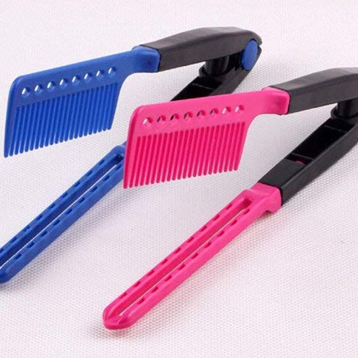 勝者時折トリッキーHair Straightening Comb, Haircut Anti-static V Shape Comb Clip Clamp Hairdressing Styling Tools(Rose_Red) [並行輸入品]