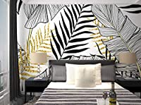 KAHSFA 3Dの壁紙 カスタム北欧壁紙現代のシンプルなリビングルームテレビの背景壁紙壁画人格バナナ葉寝室の壁装-150cmx100cm
