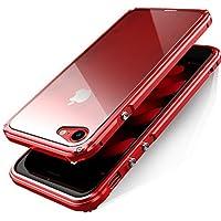 iPhone 8 plus ケース アルミバンパーケース 背面透明プレート付きiPhone 7 plus ケース(iPhone 8 Plus/7 Plus, レッド)