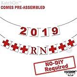 2019 RNバナー ナースパーティ - 組み立て済み - RN卒業パーティーデコレーション   ナース卒業パーティー用品 2019   赤と白の卒業デコレーション 医療ナース授乳パーティー DIYではありません フェルトバナー