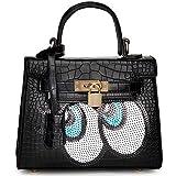 Kaichen 韓国の女性バッグ ファッション大きな目目愛斜めクロコダイル ショルダー バッグ ハンドバッグ バッグ (ブラック)