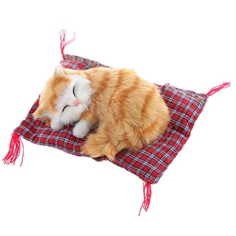 ノーブランド品 リアル ぬいぐるみ 猫の人形 格子布パッド 居心地の良い 家 オフィスの飾り 誕生日ギフト 全5パタン - #1, 13x6cm