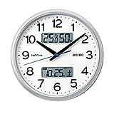 セイコークロック 掛け時計 03:銀色メタリック 02:直径31cm 電波 アナログ カレンダー 温度 湿度 表示 ネクスタイム ZS251S