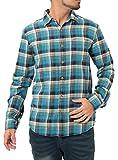 JIGGYS SHOP (ジギーズショップ) チェックシャツ メンズ 長袖 腰巻 サーフ系 ネルシャツ 大きいサイズ S ターコイズ×ブルー