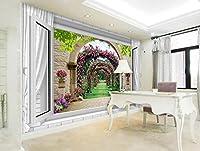 Ansyny 壁紙部屋ヨーロッパ風バラ窓写真-220X140CM