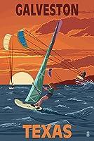 Galveston , Texas–Windsurfersとサンセット 24 x 36 Giclee Print LANT-50608-24x36