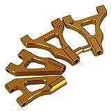 Mxfans 2対 ゴールデン アルミ合金 122018 122019 フロントアッパー&ロワーサスペンションアーム HSP RC1:10モデルカー用
