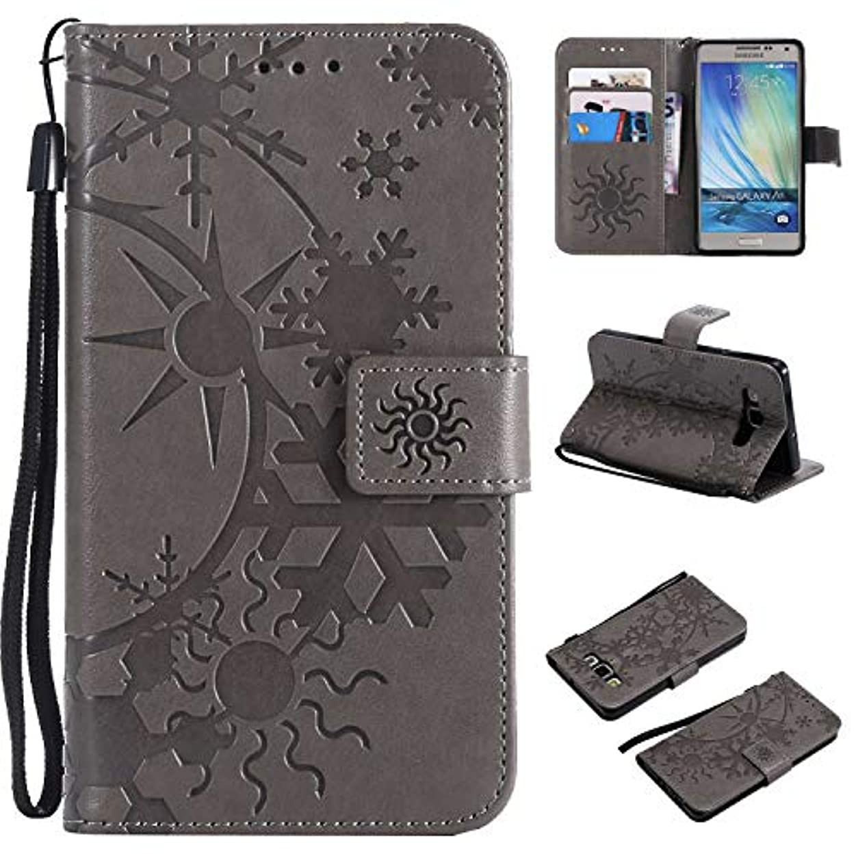 それにもかかわらず変換するフィードオンGalaxy A5 ケース CUSKING 手帳型 ケース ストラップ付き かわいい 財布 カバー カードポケット付き Samsung ギャラクシー A5 マジックアレイ ケース - グレー