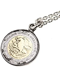 石輝 メキシコ硬貨 コイン ネックレス 1ペソ メンズ シルバーカラー 袋付き[485aln]