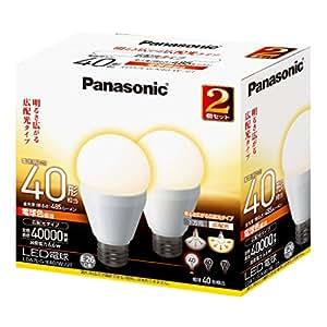 パナソニック LED電球 6.6W 2個入(電球色相当) 口金直径26mm (広配光タイプ)明るさ 電球40W形相当(485lm) LDA7LGK40W2T