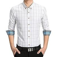 【 Smaids×Smile 】 メンズ シャツ チェック 柄 折り袖 長袖 ボタン カジュアル ビジネス スリム