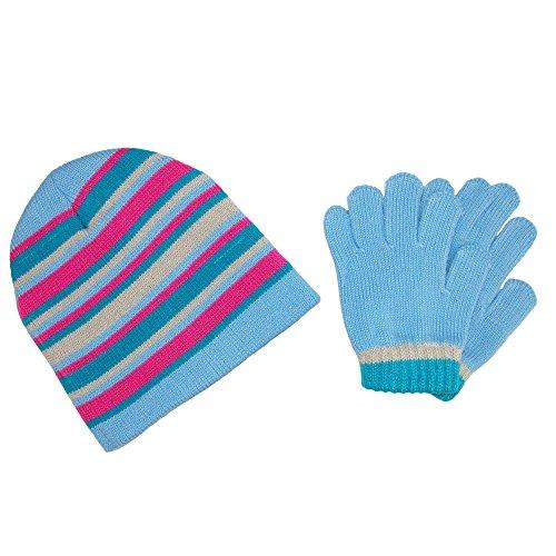 CTM Girls 'ストライプビーニー帽子と手袋冬セット ...