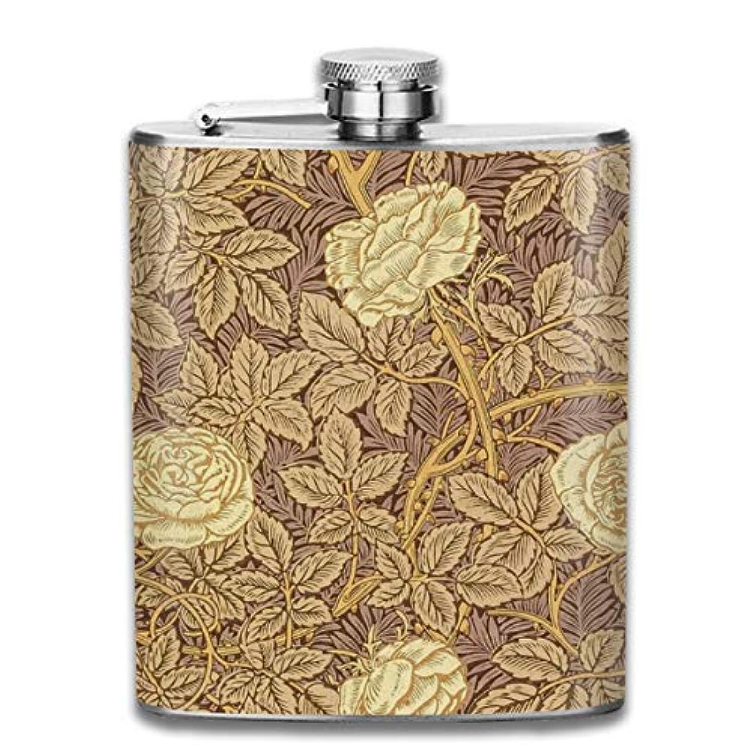 灰強いますたくさんのバラ 復古図案フラスコ スキットル ヒップフラスコ 7オンス 206ml 高品質ステンレス製 ウイスキー アルコール 清酒 携帯 ボトル